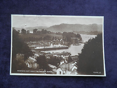 VINTAGE 1920s VALENTINE'S REAL PHOTO POSTCARD BOWNESS BAY FROM THE CHURCH TOWER