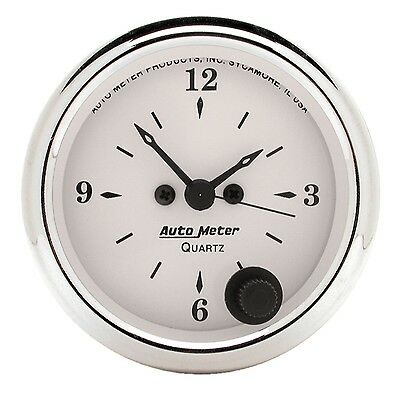 Auto Meter 1686 Old Tyme White 2 1/16'' Quartz Clock