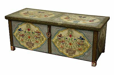 Antique Indian Painted Blanket Box Chest Trunk Coffer Storage
