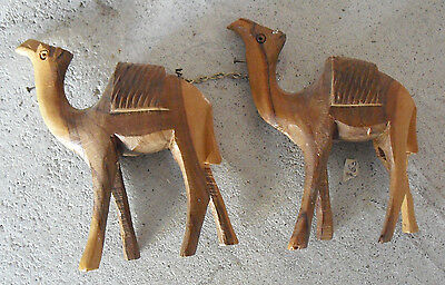 "Lot of 2 Vintage 1960s Carved Wood Camel Figurines 3 1/2"" Tall"