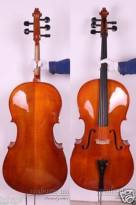 5 string 4/4 Cello acoustic Model Rich Sound Hand Carve Solid wood Maple Spruce
