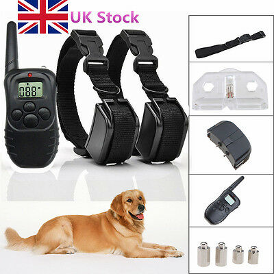 2 Dogs Collar Remote Control Training Anti Bark Vibration Stop Barking 300M UK