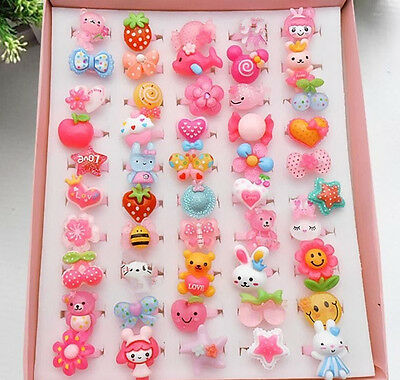 20Pcs New Mixed Lots Cartoon Children Kids Resin Lucite Rings Jewelry Wholesale