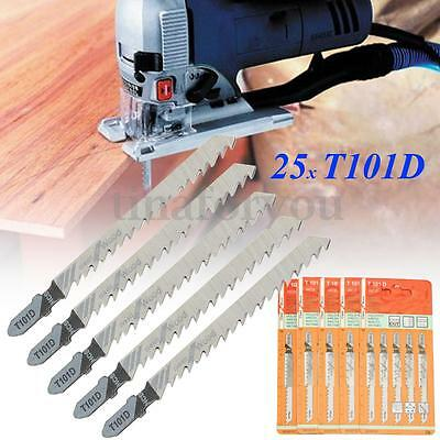 25pcs T101D T-Shank HCS Black Jigsaw Blades Curve Cutting Tools For Wood Plastic