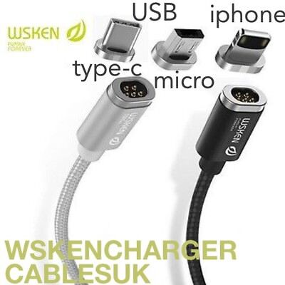WSKEN Mini2 Magnetic USB Cable Compatible with iPhone8x/Samsung/Android/TYPE-C