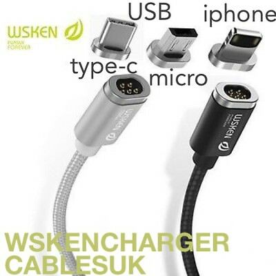 +WSKEN Mini2 Magnetic USB Charging Cable Compatible with iPhone/Samsung/Android+