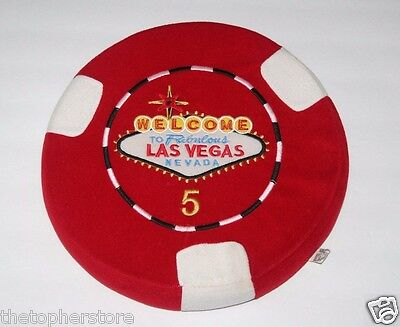 Las Vegas Plush Pillow - Red Poker Chip - 14 Inch - Vintage Casino