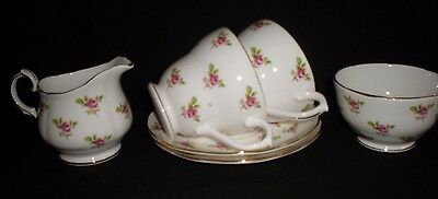 2 X Duchess Bone China Cups & Saucers, + Milk & Sugar Ditsy Rose Buds (45)