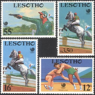 Lesotho 1988 Olympic Games/Olympics/Sports/Shooting/Horses/Flags 4v set (n17100)