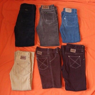 VINTAGE 1970s 1980s 6 Pairs of Boys Pants Lee Levis Wrangler Toughskins Corduroy