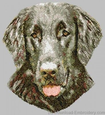 Large Embroidered Zippered Tote - Flat-Coated Retriever DLE1532