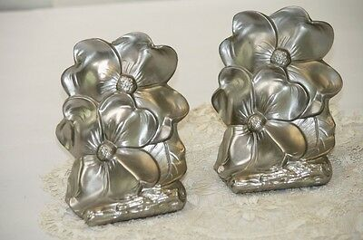 PM Craftsman Bookends Art Nouveau Floral Silver Metal Lily Pads Tree Trunk Rare