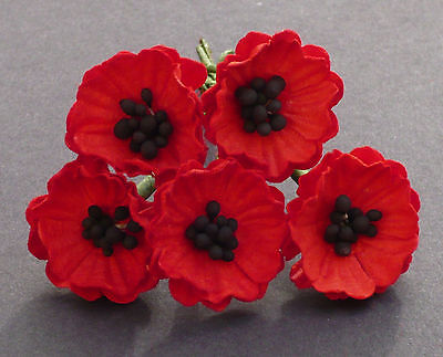 5 x POPPY / POPPIES  Mulberry Paper Flowers PAPER CRAFT  FLOWER EMBELLISHMENTS