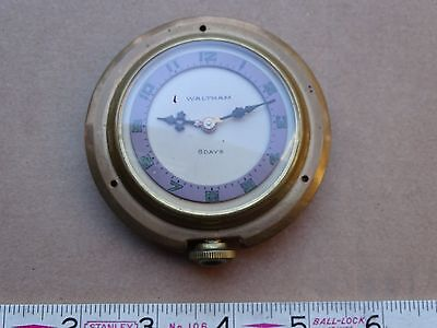 Waltham 8 Day Travel Car Clock 15 Jewels Fancy Dial And Hands Nice Crystal
