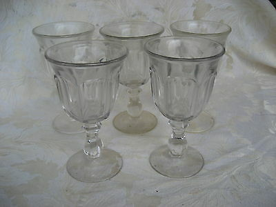 """Fabulous Set of 5 Heisey/ Imperial Old Williamburg Water Goblets 6 1/2"""" Tall"""