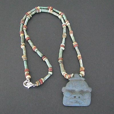 NILE  Ancient Egyptian Bes Amulet Mummy Bead Necklace ca 1000 BC