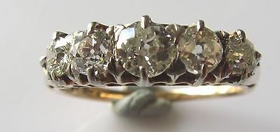 Victorian 18ct Yellow Gold 5 Stone Diamond Ring Size P (Boxed).
