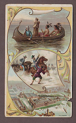 1892 Arbuckle Coffee Victorian Trade Card Illinois History Of US Series