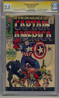 Captain America #100 Cgc 2.5 Ss Signed Stan Lee Off-White Pages S Marvel