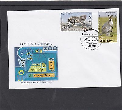 Moldova 2013 Zoo Leopard Kangoroo First Day Cover FDC Chisinau pictorial p
