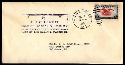 Middle River Md Jul 3 1942 First Flight Navys Martin Mars Air Mail Cover