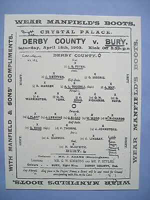 1903 FA Cup final programme Derby County v Bury in mint condition.