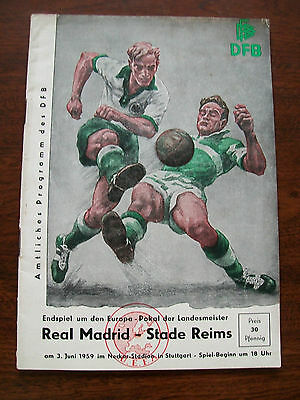 1959 European Cup Final programme Real Madrid v Stade Reims in supreme condition