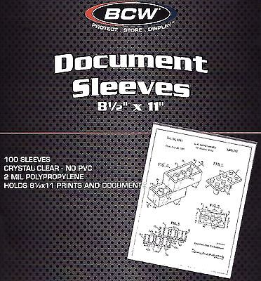 300 New BCW 8.5X11 Protective Sleeves Docment Photo Menu 2 mil Soft Poly