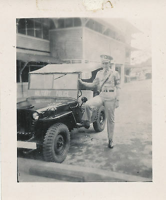 WWII  US Army GI  MP & his MP Jeep Photo