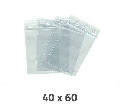 Lot 100 Sachet Plastique Transparent Zip Ziploc Dimensions 60 X 40 Mm / 40 X 60