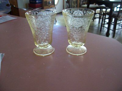 "Florentine 4"" yellow footed 5 oz tumblers (2)"