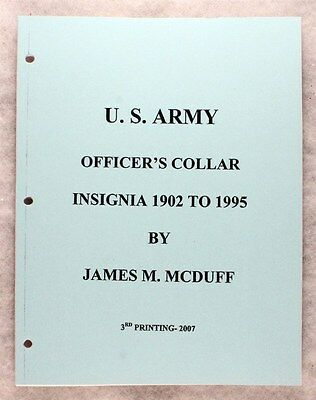 Military Reference Book:  U.S. Army Officers Collar Insignia 1902-1995 unbounded