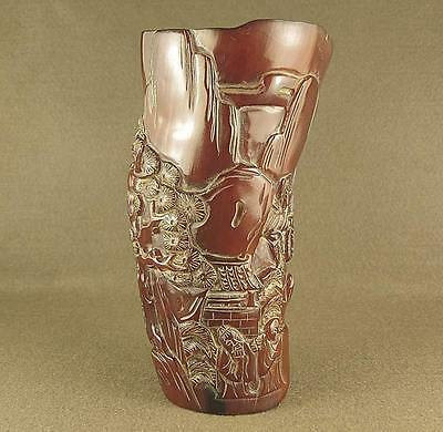 Stunning Carved Figure, Visit Friend Painting In Chinese Old Ox Horn Brush Pot