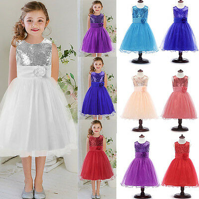Kids Sequin Party Dress Tulle Lace Formal Bridesmaid Princess Flower Girls Dress