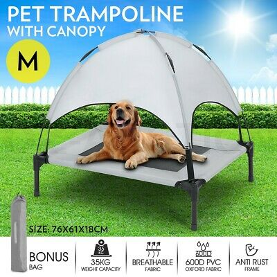 M Pet Bed Trampoline Dog Cat Heavy Duty Frame Hammock Puppy Cover w/ Canopy