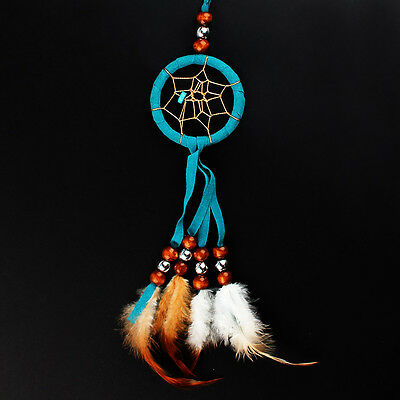 Indian Style Mini Blue and White Dream Catcher Hanging Ornament Handmade Decor