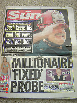 The Sun newspaper Original 20th September 2001 (twin towers pictures)