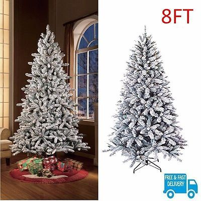 8ft Snow Flocked Christmas Tree Hinged Branches & Metal Stand White Green Xmas