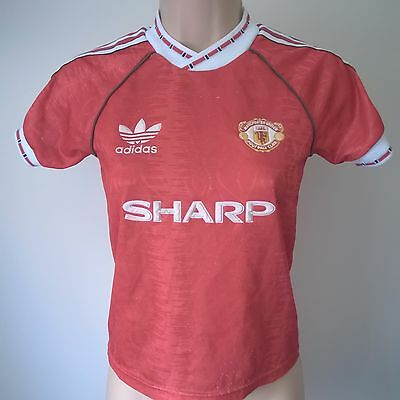 Manchester United 1990 Home Adidas Football Shirt Jersey Size Small Childs