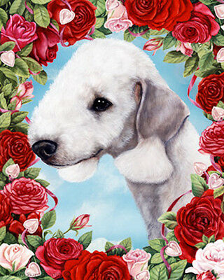 Large Indoor/Outdoor Roses Flag - Bedlington Terrier 19131