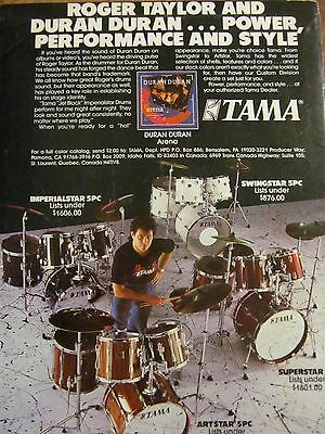 Roger Taylor, Duran Duran, Tama Drums, Full Page Vintage Promotional Ad