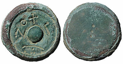 Byzantine bronze weight. 6th centuty AD. Weight of 3 Solidus. #B1