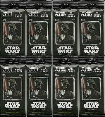 (8) 2016 Topps Star Wars Card Trader New Sealed Retail FAT PACK LOT = 128 Cards