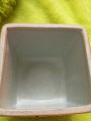 Asian Antique Square Brush Pot Very Old No Chips Blue White Outstanding