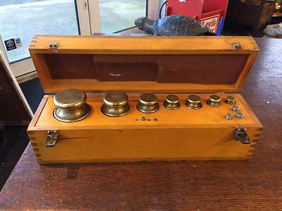 Antique Vintage Incomplete Set Of Metric Brass Weights 2Kg - 2g In A Plywood Box