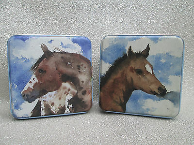 Two Sweet Little Square Metal Tins Boxes - Horses Ponies by Kate Osborne