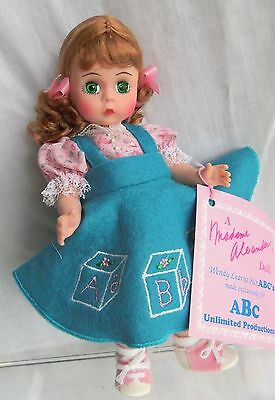 """Madame Alexander 8"""" WENDY LEARNS HER ABC's w/ Block Stand MIB Doll"""
