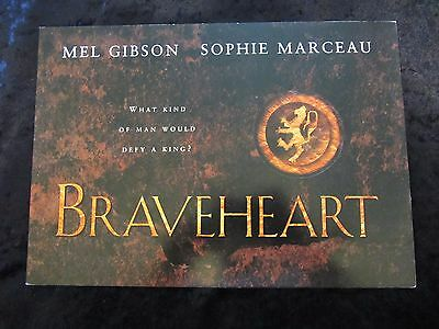 Braveheart british fold out synopsis card - Mel Gibson, Sophie Marceau