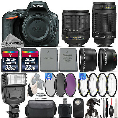 Nikon D5500 24.2MP DSLR Camera + 18-105mm VR Lens + Nikon 70-300mm - 64GB Kit