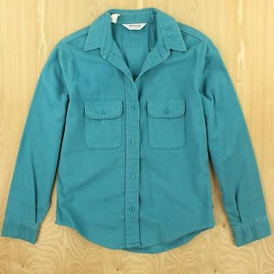 0fe23920025 vtg usa FIVE BROTHER womens distressed chamois flannel camp shirt MEDIUM  teal